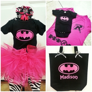 Batman or Batgirl themed Halloween Costume with matching tutu and heat transfer iron on by My Paper Craze