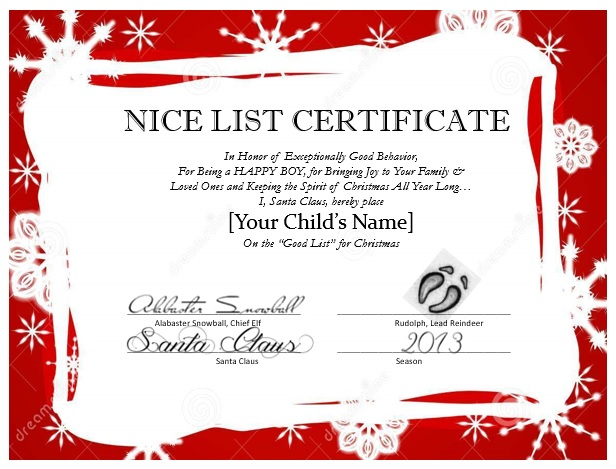 Messages from santa mypapercraze nice list certificate spiritdancerdesigns