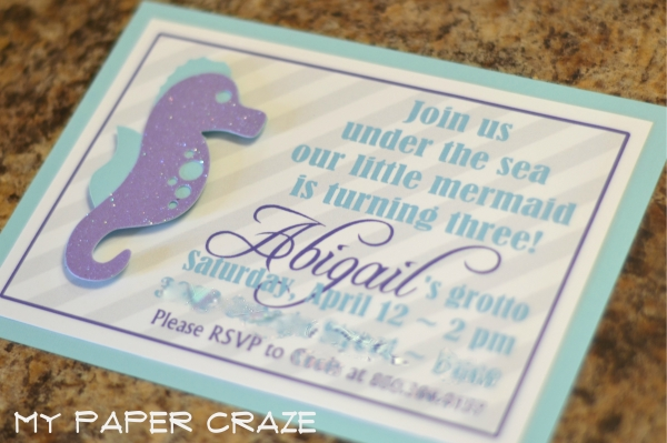 Mermaid seahorse invitations from My Paper Craze