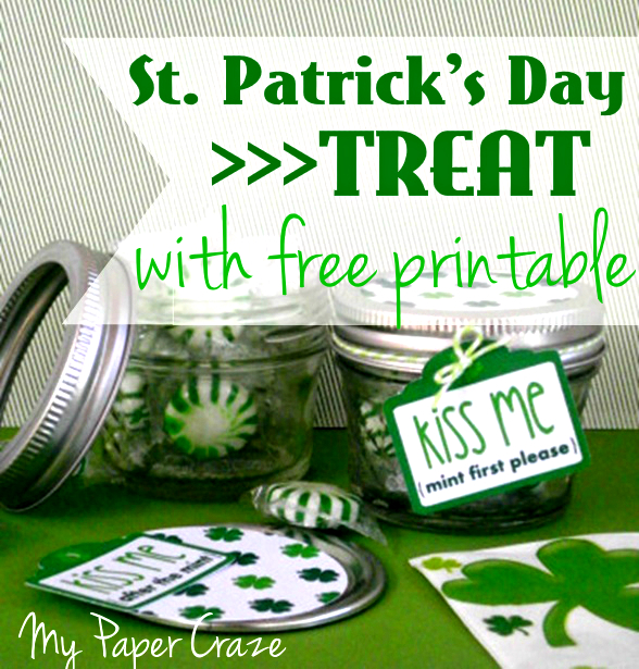 Kiss Me St. Patrick's Day Mason Jar Treat with Free Cut File